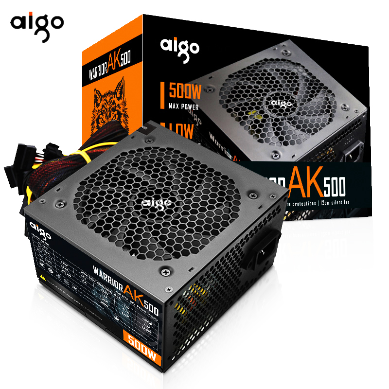 Aigo ak500 PFC max 500 W Watt PC Power Supply unit Gaming Ruhig 120mm Lüfter 24pin 12V ATX NETZTEIL Desktop-computer Netzteil für pc