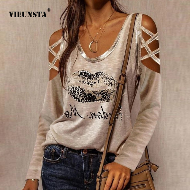Sexy Hollow Out Long Sleeve Blouses Shirts Casual O-Neck Off Shoulder Pullover Tops Women Fashion New Lip Print Shirt Blusas 3XL