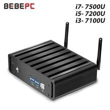 Миниатюрный ПК BEBEPC Core i7 7500U i5 7200U i3 7100U Windows 10, компактный настольный ПК 4K UHD HTPC HDMI 300M WiFi 6xusb микро компьютер