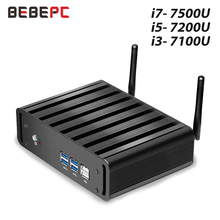 BEBEPC Mini PC rdzeń i7 7500U i5 7200U i3 7100U systemu Windows 10, kompaktowy pulpit PC 4K UHD HTPC HDMI 300M WiFi 6x usb mikro komputer