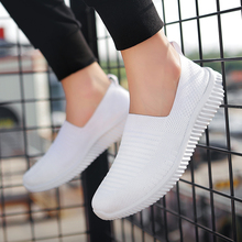 Men Shoes Sneakers Breathable Air Mesh Slip on Summer Non-leather Casual Lightweight Sock black
