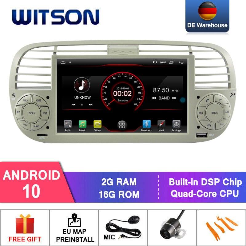 Witson android 10 rádio do carro para fiat 500 2 gb ram 16 gb flash gps auto navegação estéreo + dab obd tpms dvr wifi