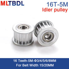 16 Teeth 5M Idler Pulley Tensioner Wheel Bore 3/4/5/6/8mm with Bearing Guide 5M synchronous pulley HTD5M 16teeth 16T