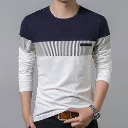 T Shirt Men Cotton Long Sleeve O Neck Mens T Shirt Fashion Patchwork Stripe Causal T Shirt Man Brand Men Clothing Harajuku Tops