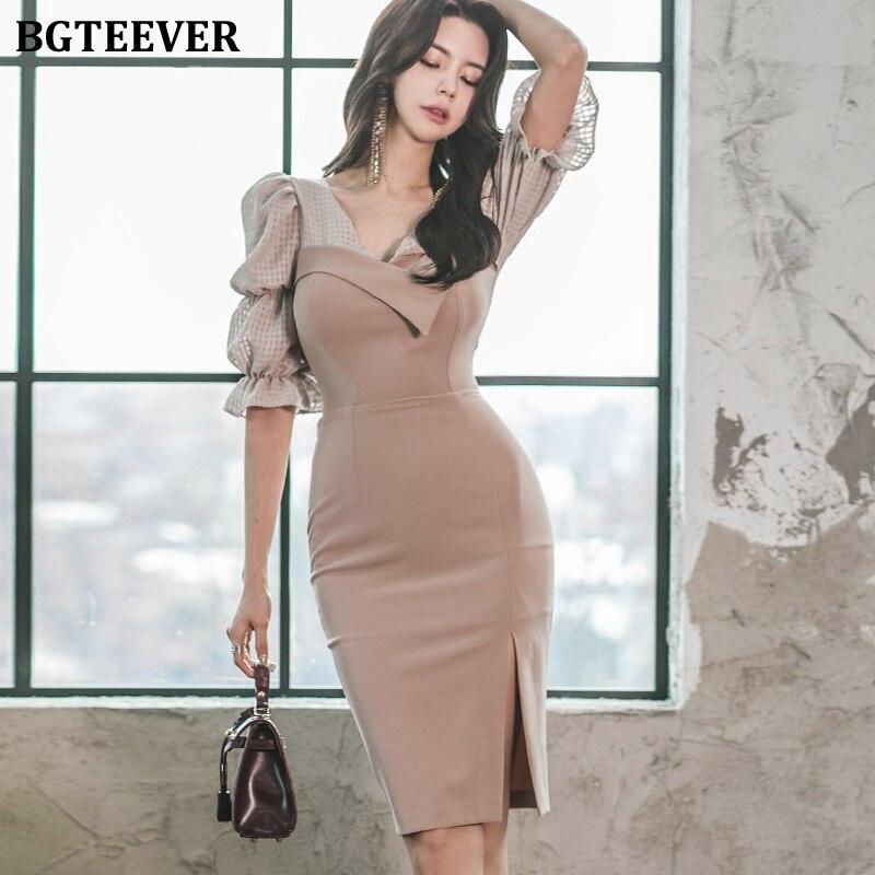 BGTEEVER Retro V-neck Puff Sleeve Patchwork Women Dress 2020 Elegant Slim Waist Female Pencil Dress OL Style Midi Vestidos Femme