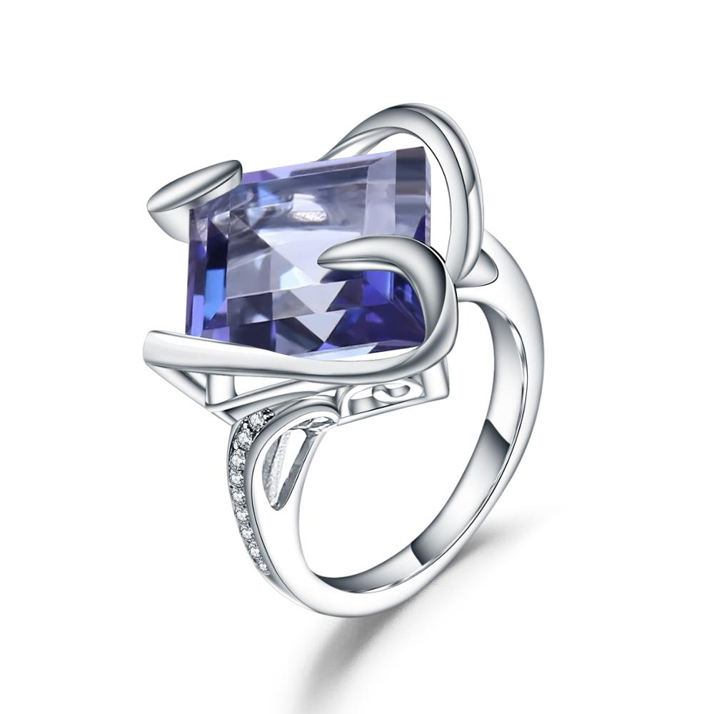 Gem's Ballet 925 Sterling Silver Square Ring Natural Iolite Blue Mystic Quartz Gemstone Classic Rings For Woman Wedding Jewelry