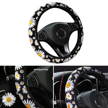 Car Auto Flower Style Steering Wheel Cover Vehicle Universal Anti Slip Knitted Steering Handle Cover Car Styling Interior Parts image
