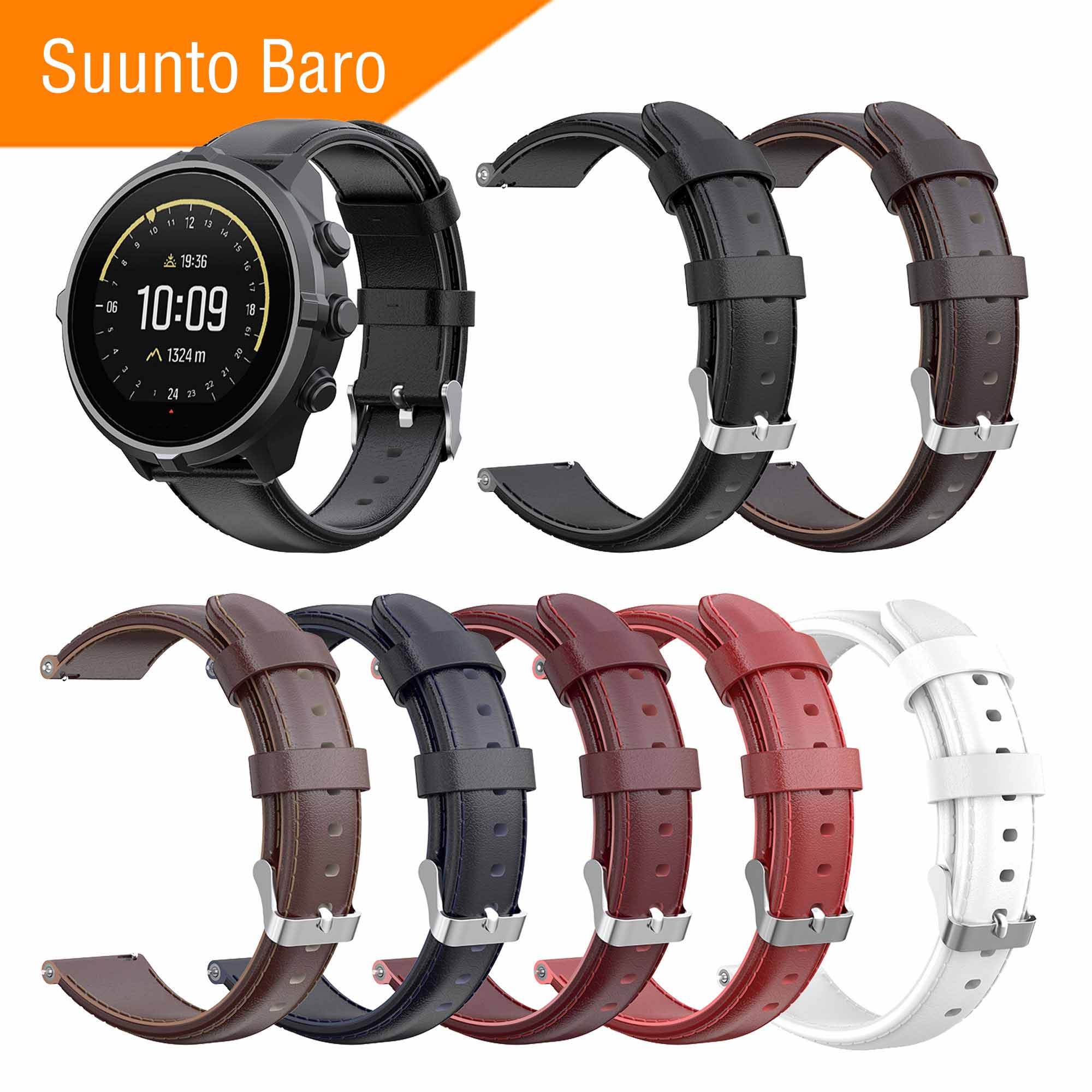 Mijobs Leather Strap for Sunnto Baro Smart Watch Genuine Watchband Replacement Wrist Accessories