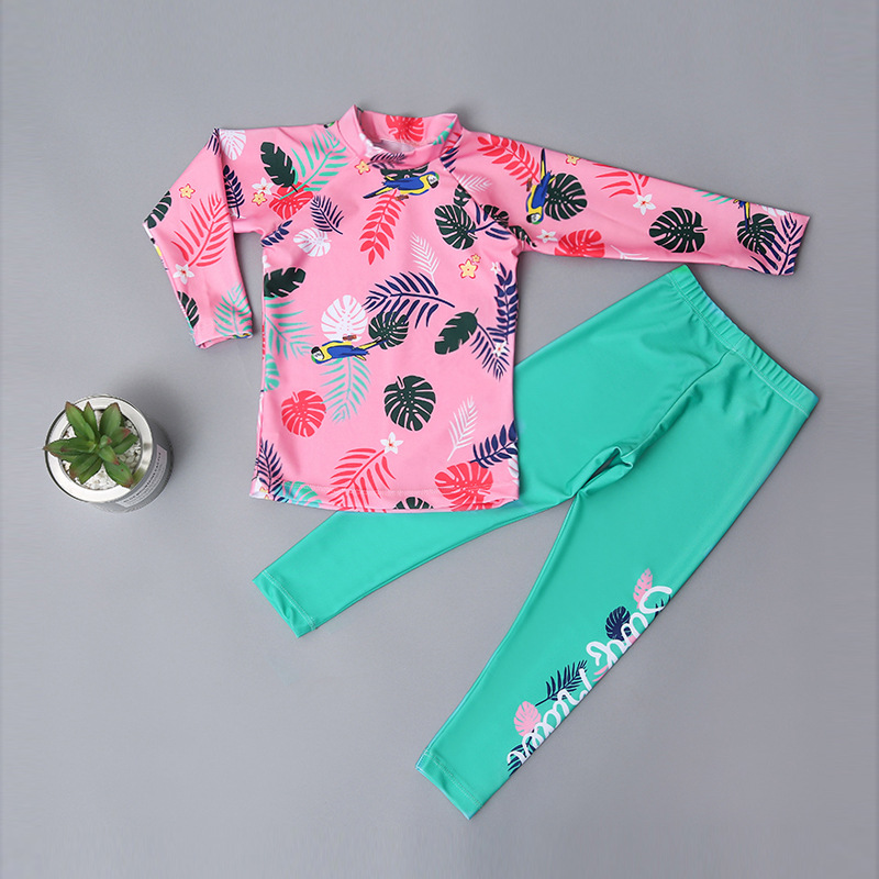 Boys' Long-sleeved Swimsuit Boy Big Boy Split Type Trousers Diving Suit Girls Sun-resistant South Korea CHILDREN'S Swimsuit Stud