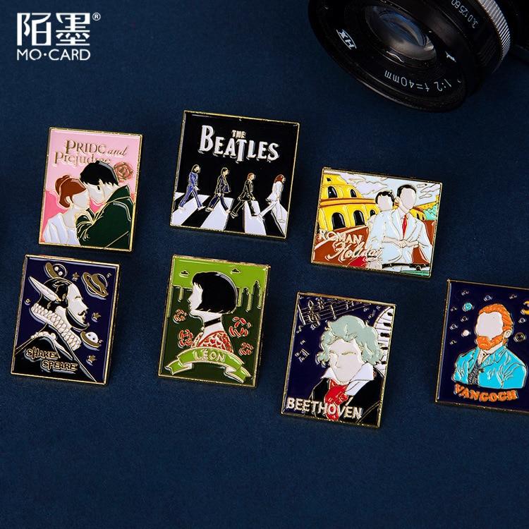 Inspiration Gallery Series Van Gogh Shakespeare Metal Badge Holder Kawaii Rose Little Fox Stamp Decorative Badge