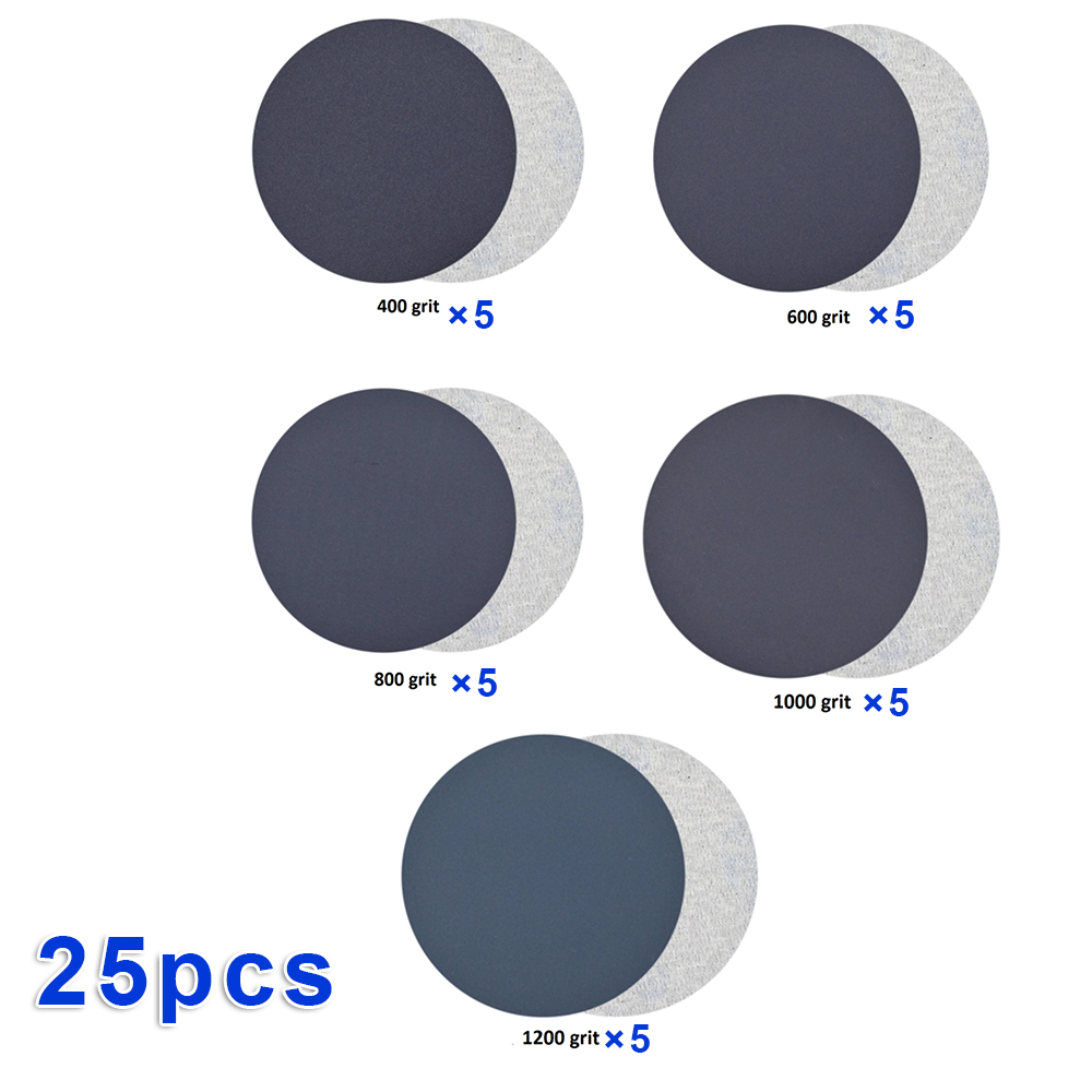 25pcs/Set Sandpaper Sanding Paper Wet & Dry Dual-use 400 600 800 1000 1200 Grit Waterproof Sand Disc