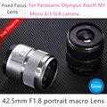 Новинка, фиксированный объектив 42,5 мм F1.8 для XiaoYI M1, для Panasonic GF6 GF7 GF8 GF9 GF10 GX85 G85 для Olympus E-PL9 II, E-M5Mark, Mark II