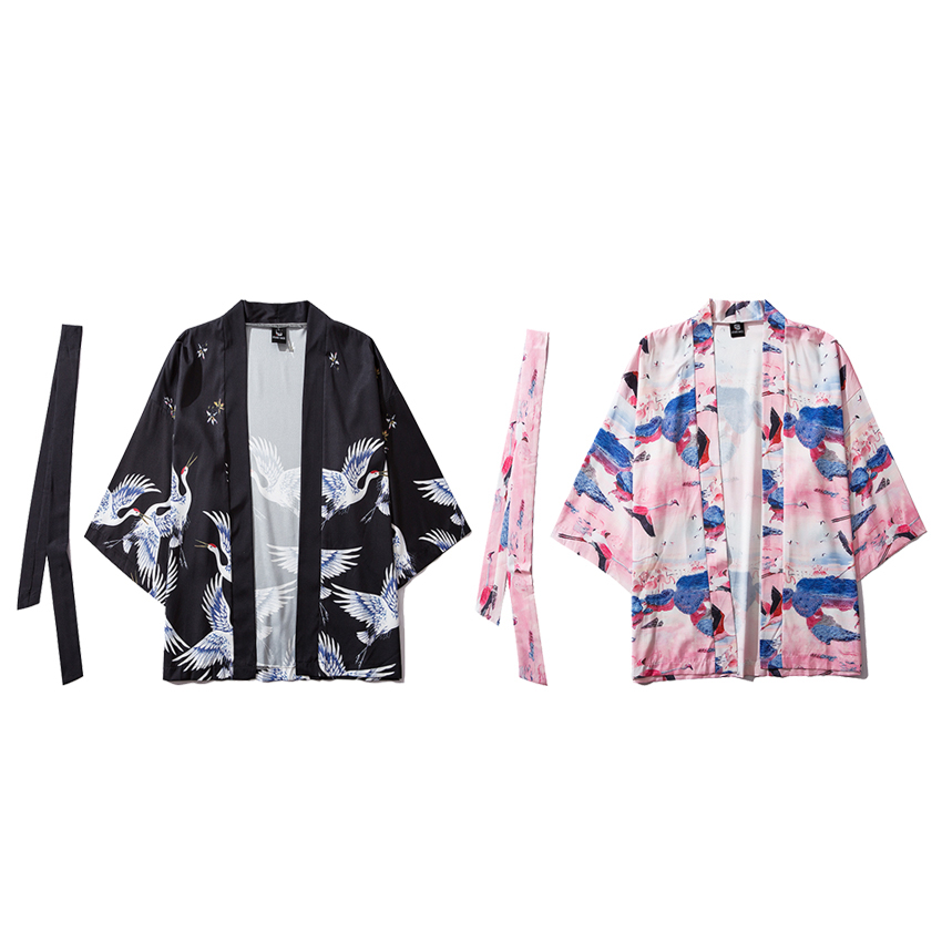 Autumn Women Japanese Kimono Haori Cardigan With Belt Chinese Style Crane Print Thin Jacket Outfits Loose Pajamas Sleepwear