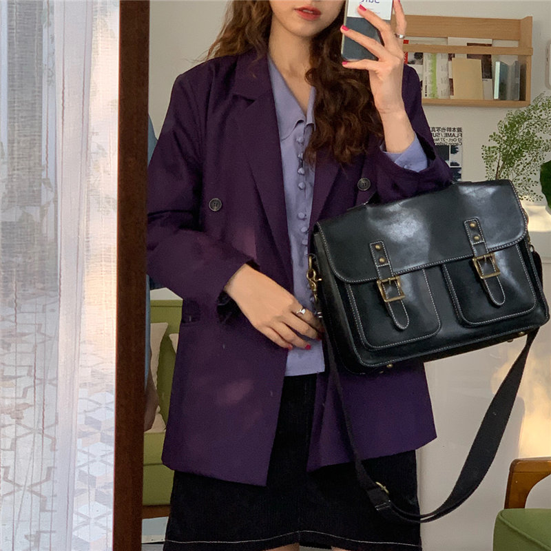 HziriP Korea Chic Purple Slender High Street Loose 2019 Autumn Gentle Office Lady Women Elegant Feminine All Match Blazers