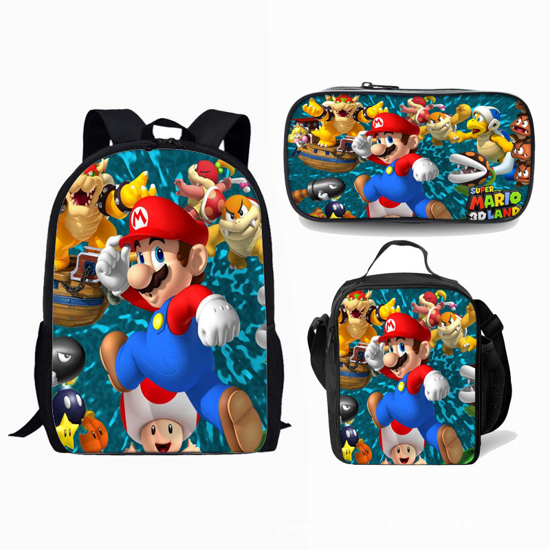 LUNCH BOX Pack Rucksack Kids Set BACK TO SCHOOL NEW Super Mario Bros BACKPACK