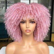 Парик афро Кудрявый с короткими волосами и челкой, черные и розовые Искусственные волосы для косплея Лолиты, для женщин, синтетический нату...