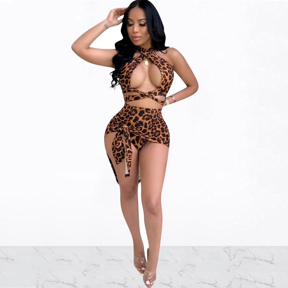 Women Summer Leopard Print Sexy Criss Cross Bandage Crop Top Two Piece Halter Tie Up Irregular Skirt Sets Beach Clubwear Outfits