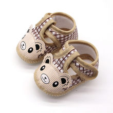 Cartoon Newborn Baby Shoes Cotton Little Bear Plaid First Walkers Toddler Shoes For Boys Girls Non Slip Infant Single Shoes mocc(China)