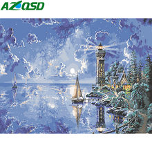AZQSD Pictures By Numbers Lighthouse Wall Art Diy Painting By Numbers Sea Scenery Paint Canvas Hand Painted Home Decor Landscape(China)