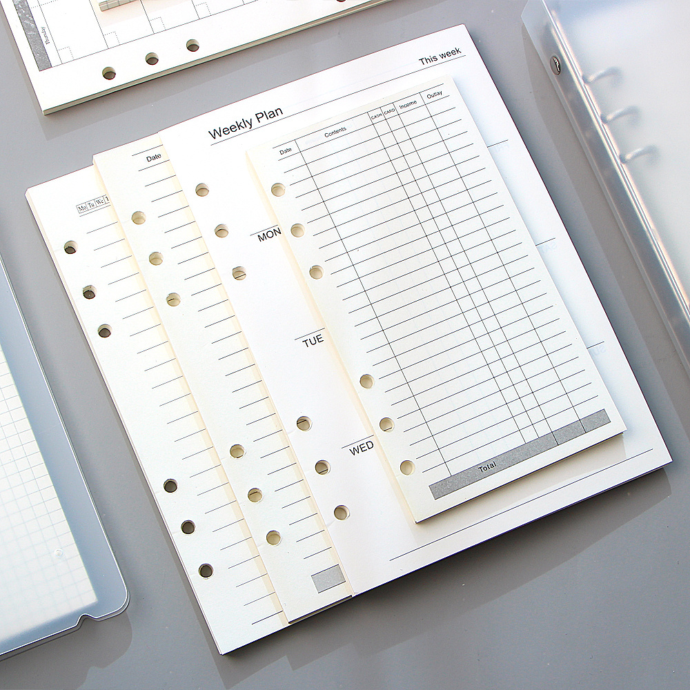 A5 A6 Loose Leaf <font><b>Notebook</b></font> Refill <font><b>Spiral</b></font> <font><b>Binder</b></font> Inner Page Diary Weekly Monthly Planner To Do List Line Dot Grid Inside Paper image