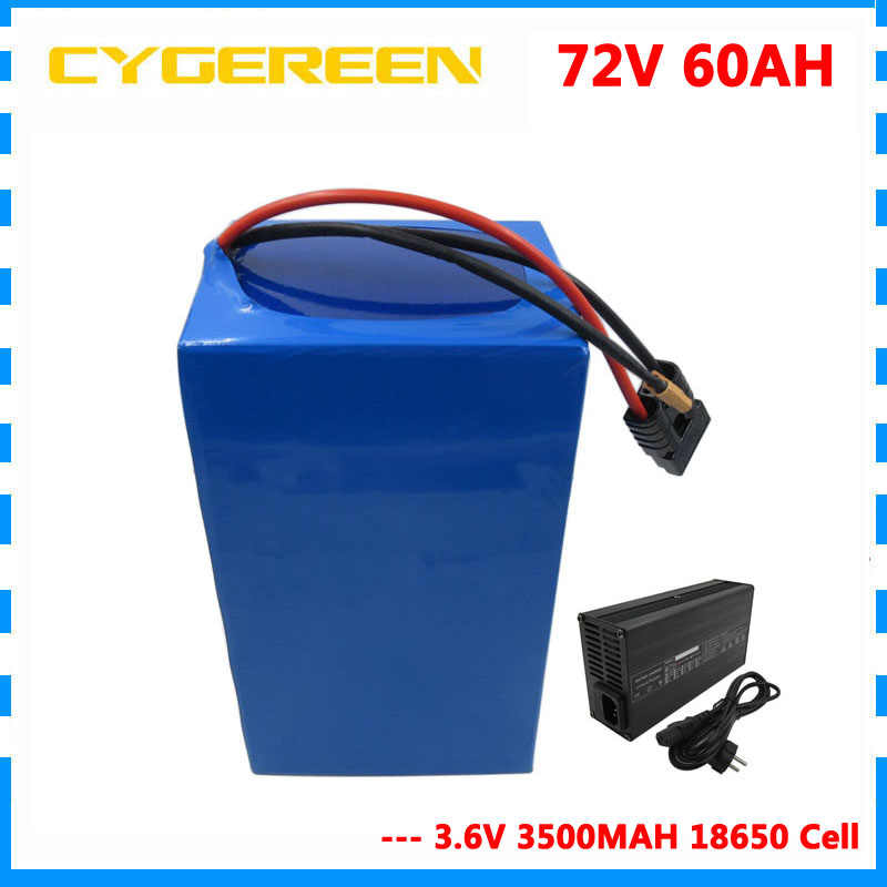 Deep Cycle 72V 60AH lithium battery pack 72V ebike tricycle wheelchair motorcycle battery 35E / GA Cell 50A BMS and 4A Charger
