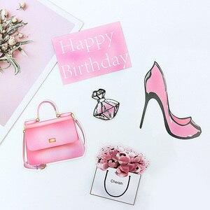 Image 4 - 8/9 stuks Roze Gelukkige Verjaardag Cake Topper voor Wedding Party Cupcake Party Decoracion Mode Lippenstift opper Taart Benodigdheden bloem