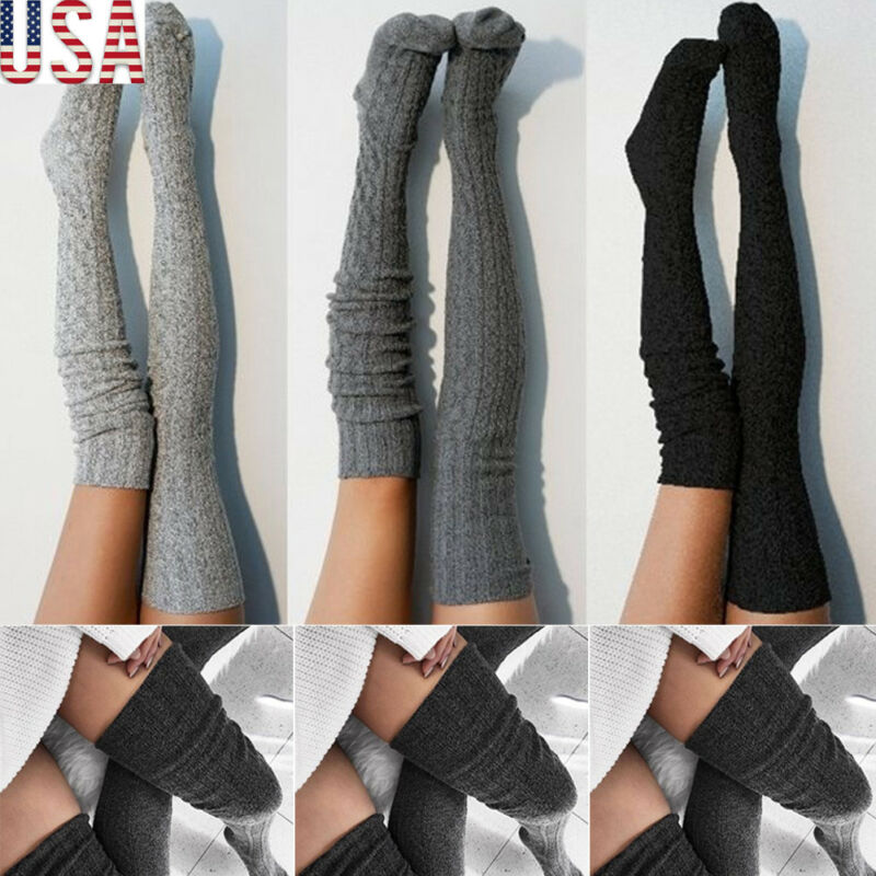 Women Girls Cable Knit Extra Long Boot Socking Over Knee Thigh High Warm Stock