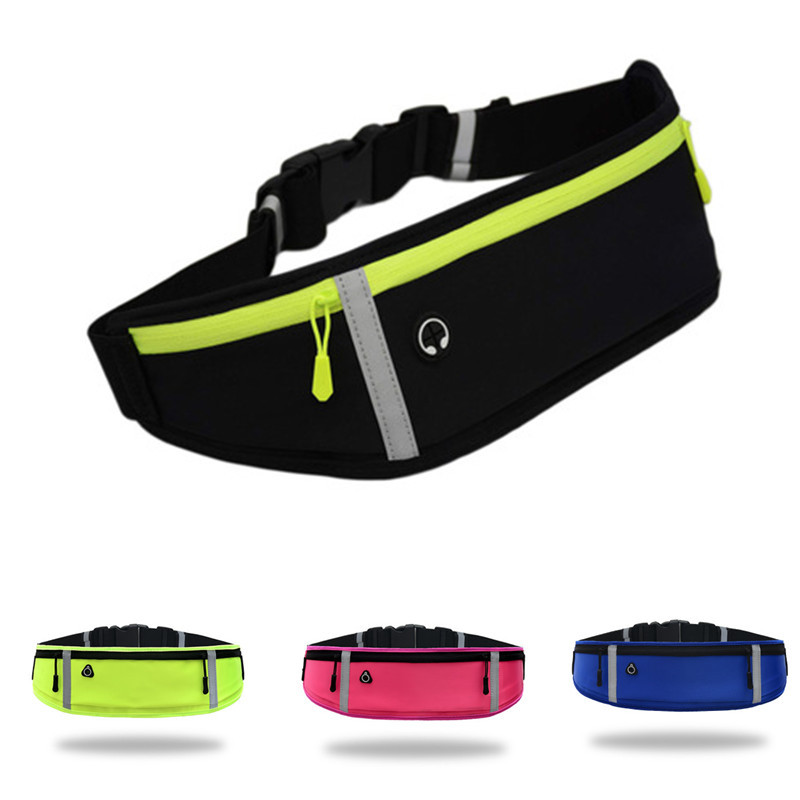 Three-pocket Waterproof Sports Belt Outdoor Fitness Belt Bag Cycling Waist Pack Jogging Running Reflective Mobile Phone Bag