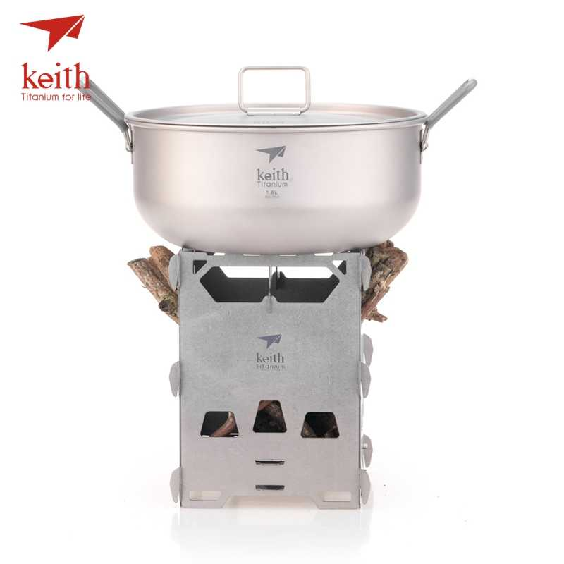 Keith Camping Wood Stove Titanium Alloy Wood Burning Stove Lightweight Outdoor Charcoal Stove Heating Stove Portable Burner Cooker BBQ Backpacking Stove Ti2201