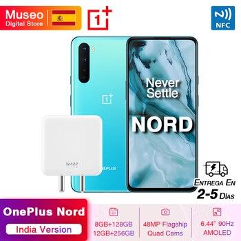 Перейти на Алиэкспресс и купить Индийская версия OnePlus Nord 5G Смартфон Snapdragon 76 5G 8 Гб 128 ГБ 6,44 ''90 Гц AMOLED экран 48MP Quad задние камеры 30W NFC