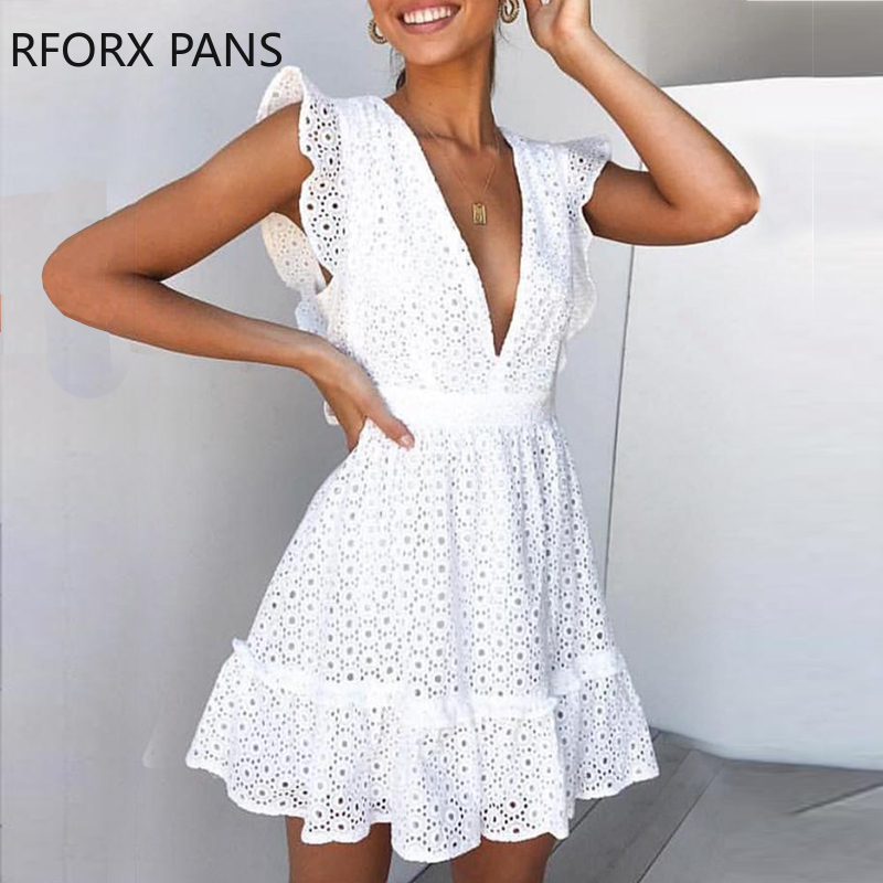 Women Butterfly Sleeve V-neck Frill Hem Hollow Out Lace Casual Dress  Bodycon Sexy Party Dress