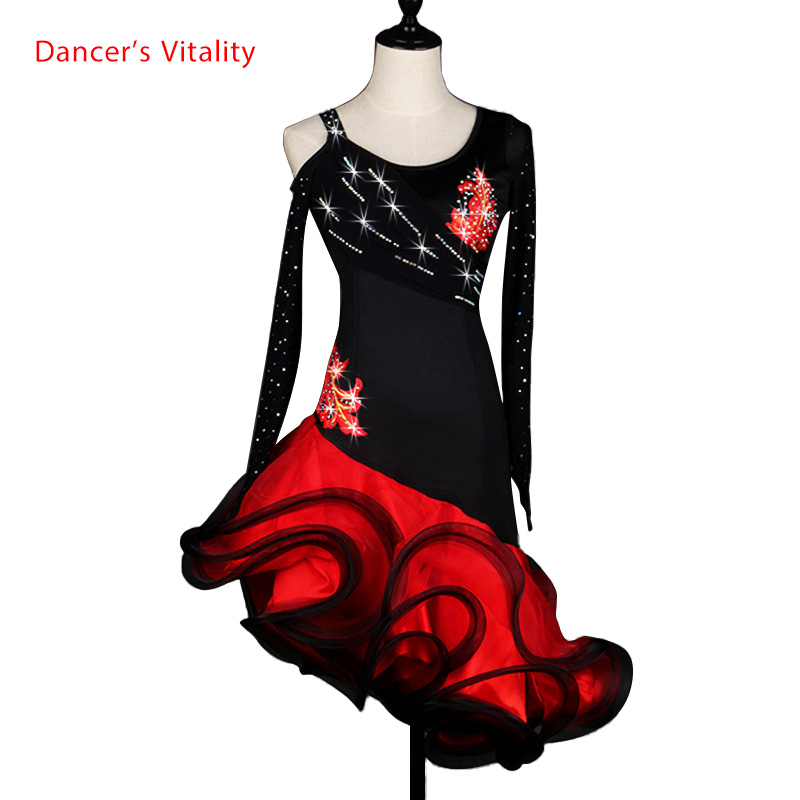 Sexy Dress Latin Dance Clothes For Women Latin Dance Flowers Long Sleeves Dress Girls Latin Dance Dress Cha-cha Dance Dress