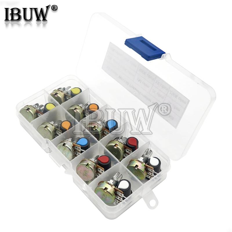 Набор потенциометров WH148, B1K, 2K, 5K, 10K, 20K, 50K, 100K, 500K, 1 м, 15 мм, Линейный Конус, роторный потенциометр, резистор, набор, 3 контакта с крышкой