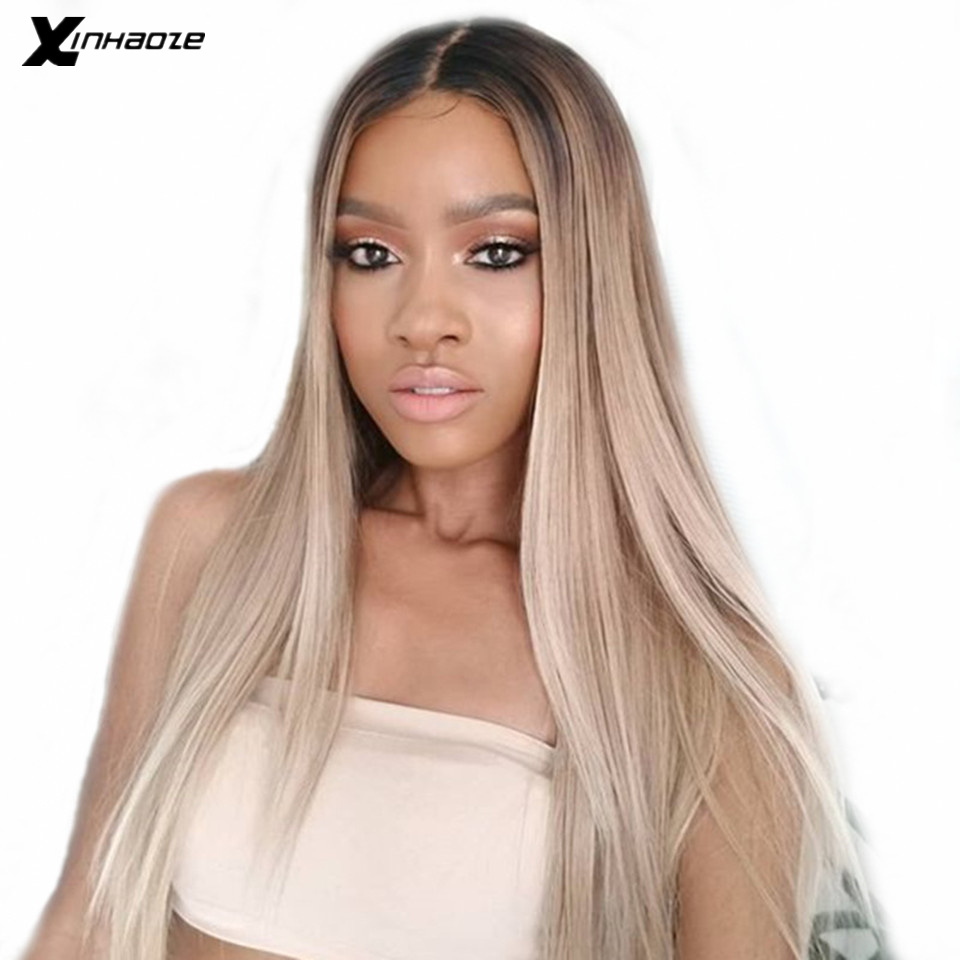 13x6 #1b/18 Straight Lace Front Pre Plucked Brazilian Human Hair Wigs Deep Part Ombre Ash Blonde Human Hair Wigs