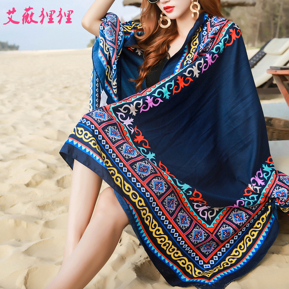 Woman Sunscreen Scarves Cotton Linen Scarf National Wind Travel Scarf Holiday Air Conditioning Shawl Tassel Ladies Beach Towel
