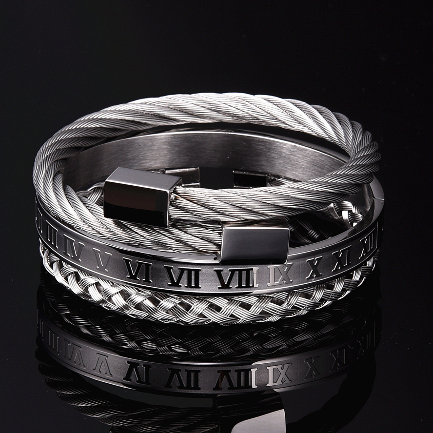 Luxury 3pcs/Set Stainless Steel Bracelet Hip Hop Men Jewelry Roman Number Charm  Gold Color Jewelry For  Men Pulseira Bileklik 2