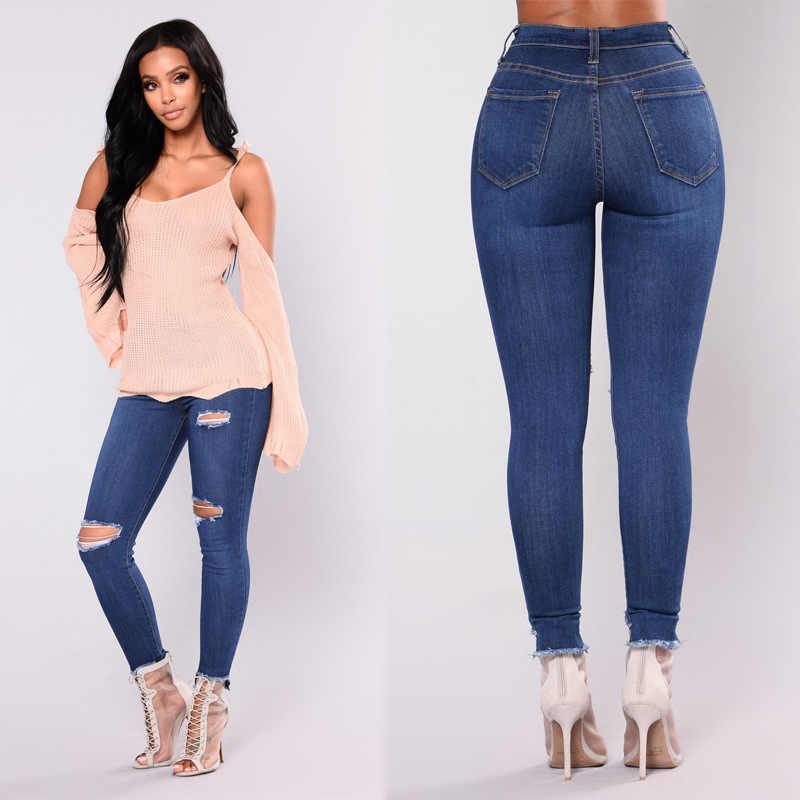 Nuevos Pantalones Con Estilo Rotos Con Elasticos De Pies Pequenos Jeans Skinny Jeans Mujer Jeans Rasgados Para Damas Agujero Pantalones Vaqueros Aliexpress