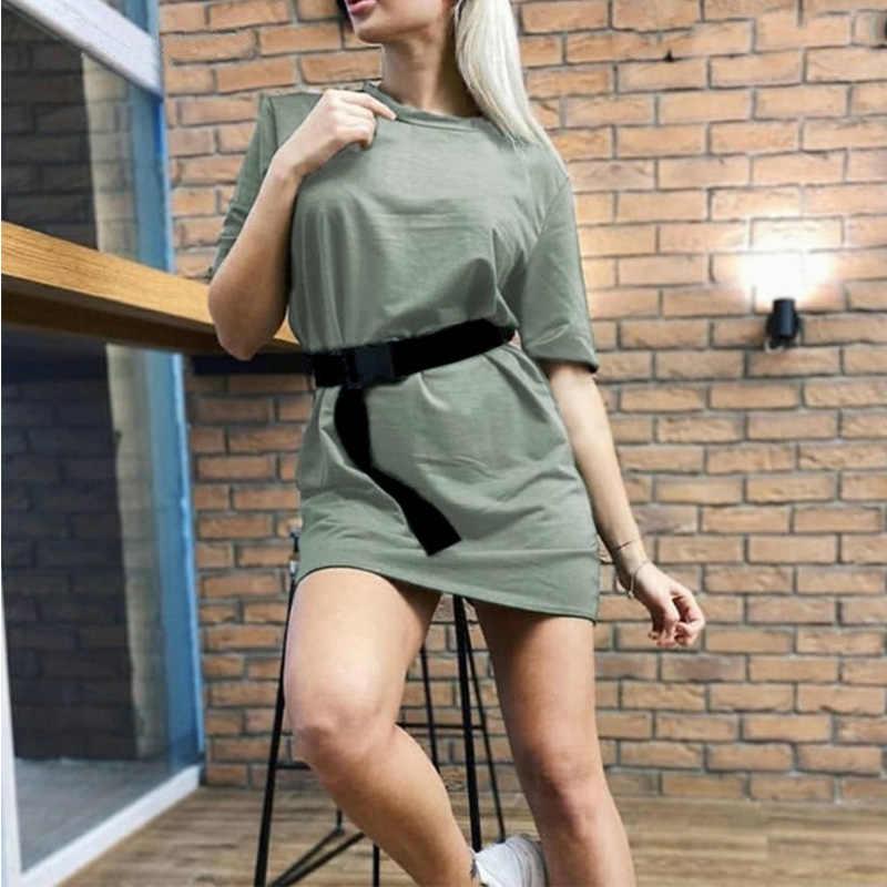Sommer frauen Shirt Mini Kleid Mit Gürtel Weiß Sport Kurzarm Casual Kleider 2020 Mode Streetwear Damen Vestidos