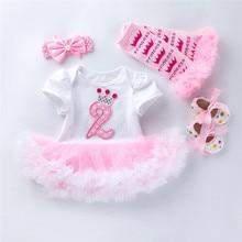 Детское платье на день рождения 2 года, 4 предмета в комплекте; Одежда для маленьких детей; Одежда для малышей; Одежда для новорожденных и мал...