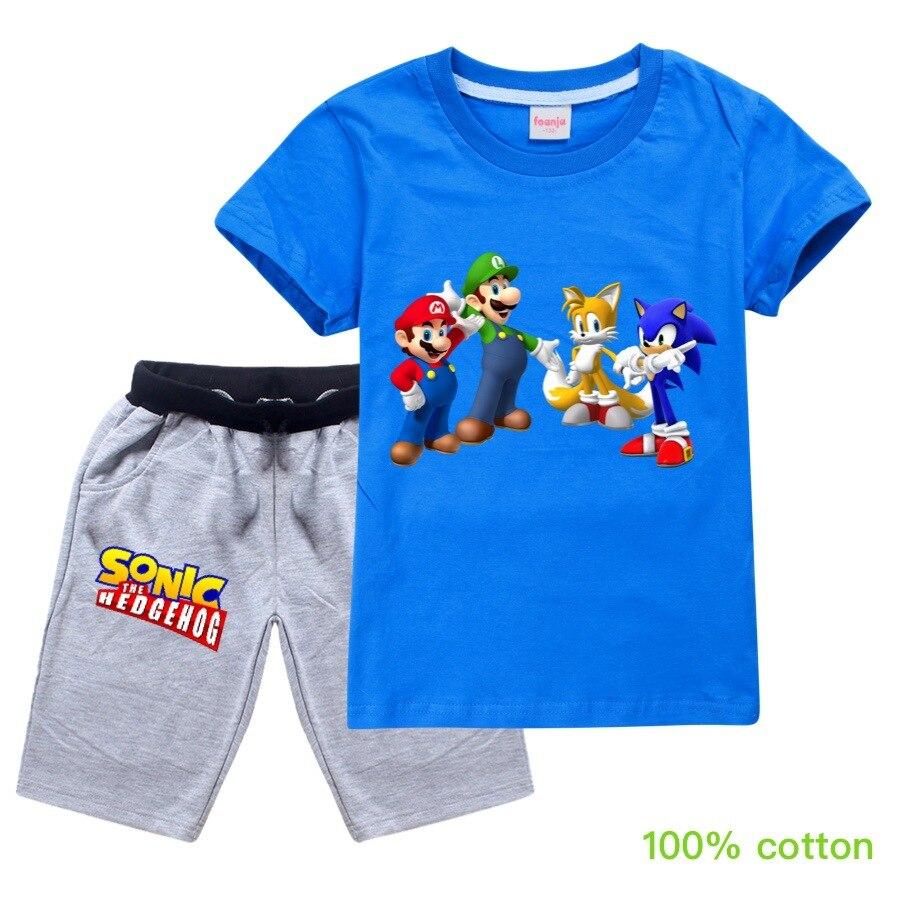 Hey Duggee Sonic The Hedgehog Girl Boy Short Sleeve 2020 Summer Cartoon T Shirt Tops Shorts Pajamas Set Boys Christmas Clothes Clothing Sets Aliexpress