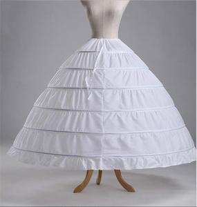 Бесплатная доставка Высокое качество Белый 6 обручей подъюбник кринолин скольжения нижняя юбка для свадебного платья свадебное платье вып...