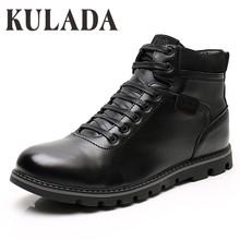 KULADA nowe buty motocyklowe mężczyźni praca na zewnątrz buty grube futro ciepła moda Super Plus rozmiar 46-49 wysokiej jakości męskie buty zimowe tanie tanio CN (pochodzenie) ANKLE Stałe Dla dorosłych Pluszowe Plush Okrągły nosek Zima Med (3 cm-5 cm) DM9500-1 Pasuje prawda na wymiar weź swój normalny rozmiar