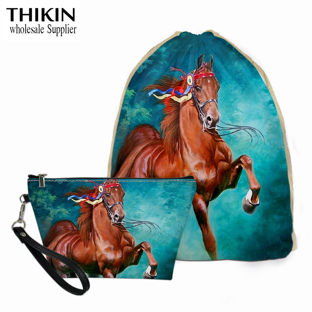 THIKIN 3D Bay Horse Pattern Drawstring Bags For Teenager Girls Bookbag Women Travel Make Up Bag Leather Small Cosmetic Case