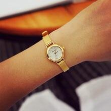 Damski zegarek z małą tarczą elegancki złoty siatkowy zegarek ze stali nierdzewnej dla pani zegarek damski zegar Drop Shipping