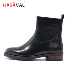 HARAVAL Winter Handmade Ankle Chelsea Boots Quality Genuine Leather Round Toe Shoes Black Casual Fashion Zipper Warm B220