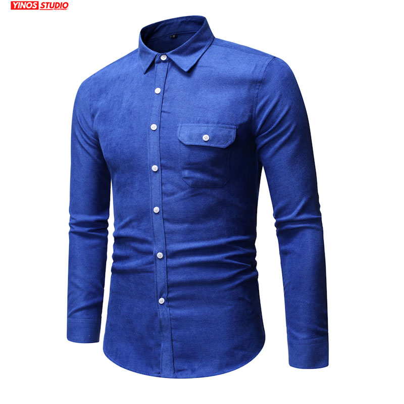 Dropshipping Men Streetwear Fit Shirts Male Lapel Slim Shirts 2020 Mens Fashions Casual Solid Shirts