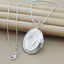 Christmas Gift 925 Sterling Silver Photo Frame Pendant Necklace Female Charm Jewelry Necklace Top Quality(China)