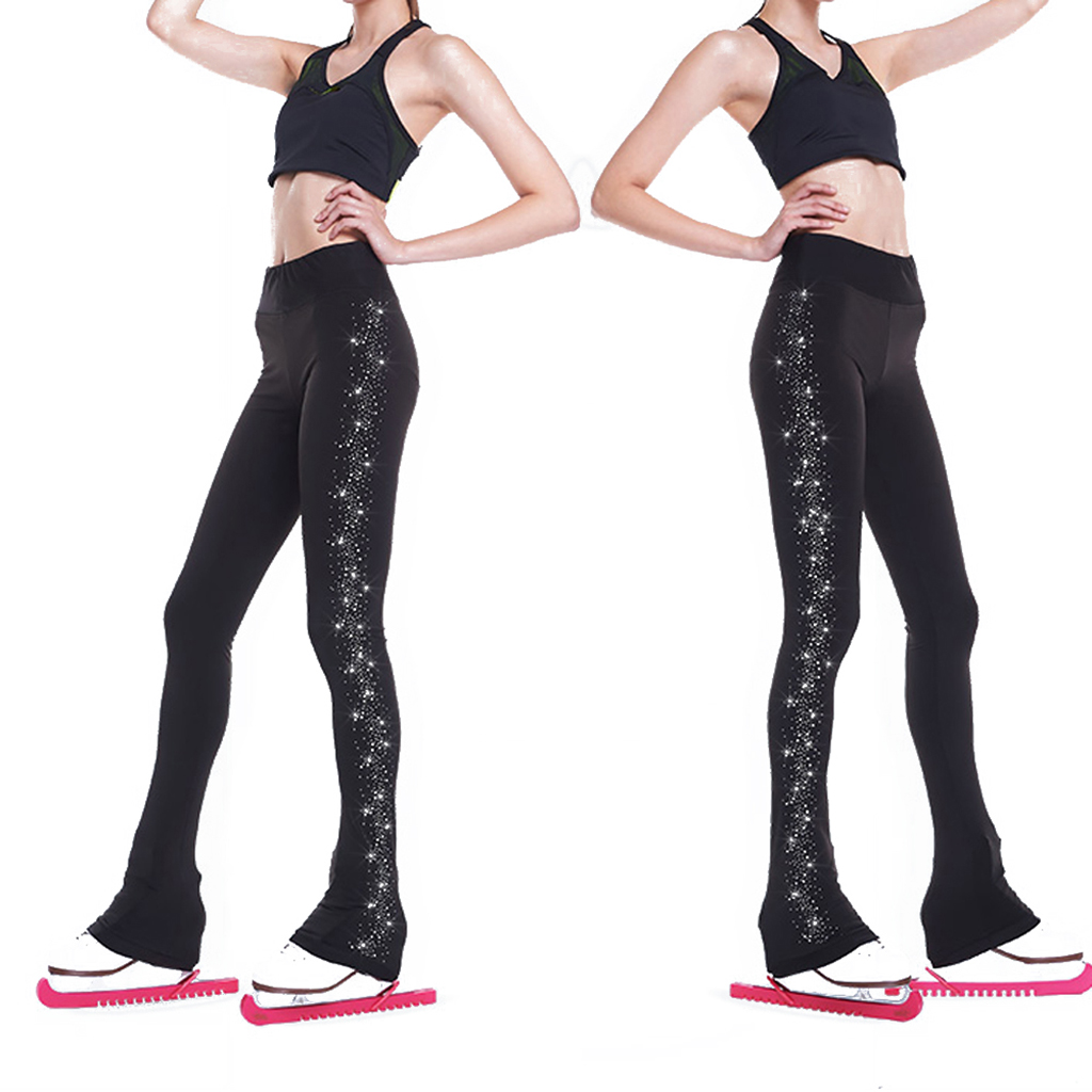 Women's Girls' Ice Figure Skating Training Clothes Long Pants Warm Tights Trousers With Rhinestones Dance Yoga Pants Trousers
