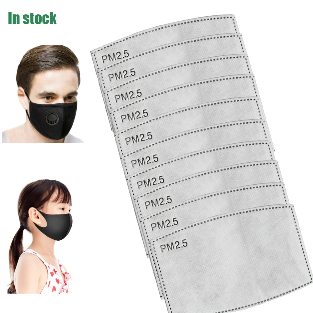 10/50/100pcs/Lot For Kids/Adult 5 Layers PM2.5 Filter Paper Anti Haze Mouth Mask Non-woven Activated Carbon Filter Paper
