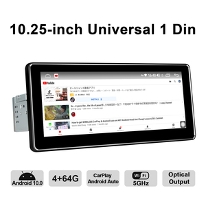 Image 2 - أندرويد 10.0 واحد الدين 10.25 بوصة 1280*480 IPS العالمي راديو السيارة لاعب 4 جيجابايت RAM 64 جيجابايت ROM RDS BT HDsupport 4 جرام/كاميرا احتياطية